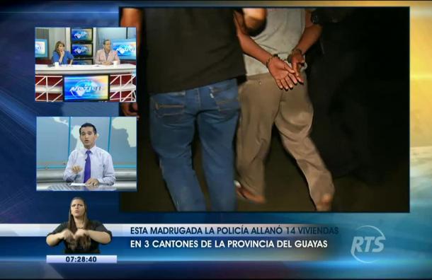 La Policía allanó 14 viviendas en 3 cantones de la providencia del Guayas esta madrugada